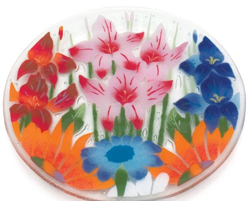(Fusion Art Glass 14-Inch Ribbed Plate with Wild Flowers Design)