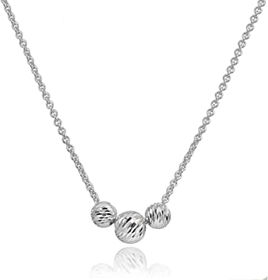 Diamond Cut Sterling Silver Necklace Sterling Silver Beaded Snake Chain Necklace Sterling Silver Slide Bead Necklace