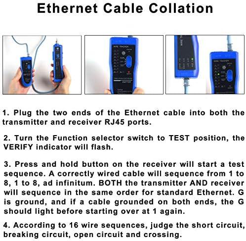 Yunir Network Tester Wire Tracer Herramienta de Detector de buscador de l/ínea de Tono de Cable RJ11 port/átil