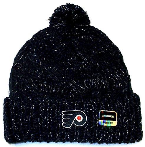 NHL Philadelphia Flyers Women's Cuffed Knit Hat With Pom, One Size,Black