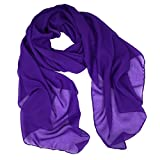 Fashionable Solid Color Chiffon Scarf - Purple