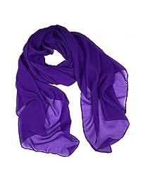 Fashionable Solid Color Chiffon Scarf - Purple