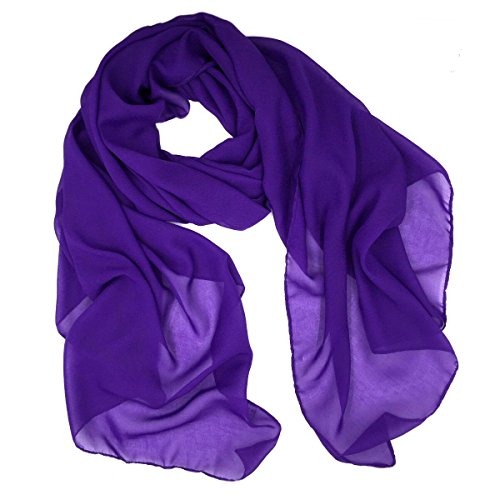Fashionable Solid Color Chiffon Scarf - (Purple Chiffon)