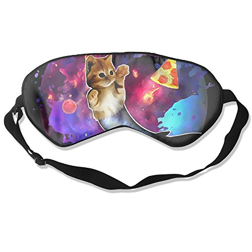 TDy Nasty Cat Fish Pizza Sky Natural Silk Sleep Mask Comfortable Smooth Blindfold For Travel, Relax