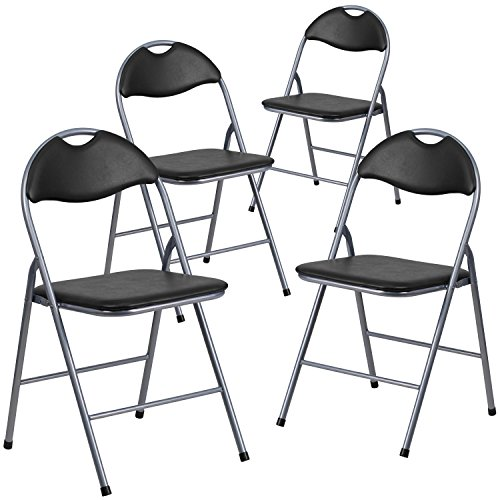 Flash Furniture 4 Pk. HERCULES Series Black Vinyl Metal Folding Chair with Carrying Handle