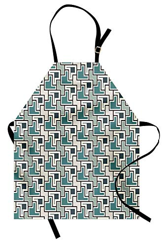 Miss Sweetheart Geometric Apron, Mosaic Abstract Design with Geometric Shapes Contemporary Style Digital Design, Funny Kitchen Aprons Men Women Kids High Waist Apron, Multicolor