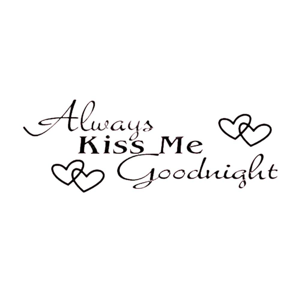 Adesivi Murali Frase Always Kiss Me Goodnight Stickers Neri Muri in Camera da Letto Dormitorio e Soggiorno Decorazione Amovibile Art Parete 60 * 25cm CDKJ