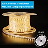 shine decor dimmable Led Strip Lights, Rope Light, High voltage 110V-120V, SMD 2835 60Led/M, 16.4ft/roll, 3000K Warm White, With plastic tube cover, flexible indoor/outdoor use, Accessories included