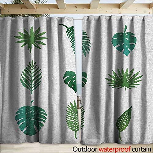 (warmfamily Palm Tree Outdoor Curtain Panel for Patio Tropical Paradise Island Nature Theme Hand Drawn Collection Palm Foliage W120 x L84 Green and White)