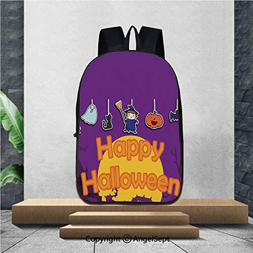 Lightweight Backpacks Casual School Bags,cute happy halloween background
