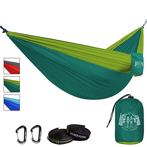 Premium Outdoor Hammock - Large Double Size, Portable & Ultra Light. FREE 10' Tree Straps & Wiregate Carabiners Included.