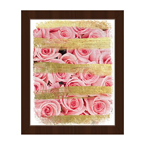 Distressed Pink Roses and Gold Stripes - (Non-Metallic) Feminine