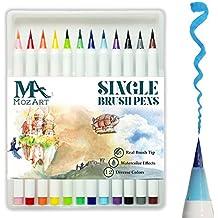 MozArt Supplies Brush Pen Set - 12 Colors - Soft Flexible Real Brush Tip Marker Pens, Durable, Premium Grade - Create Watercolor Effect - Ideal for Adult Coloring Books, Manga, Comic, Calligraphy