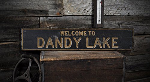 Dandy Saw (The Lizton Sign Shop Welcome to Dandy Lake Idaho, wood lake house rustic hand made vintage wooden sign - 5.5 x 24 Inches)