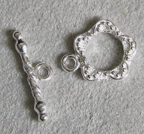 2 sets .925 Sterling Silver Garden Flower Toggle Clasp (12 Sterling Silver Toggle Clasp)