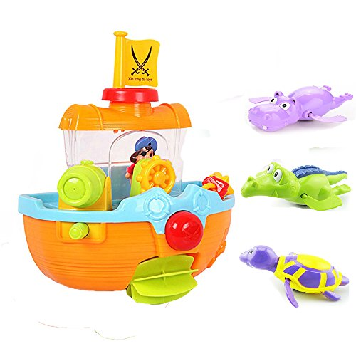 Summer Beach Pool Bath Time Pirate Ship Baby Bath Toy Water Fun Play with Wind Up Crocodile Hippo Turtle Bathtub Toy,Nice Sand Water Playsets for Baby Kids Children