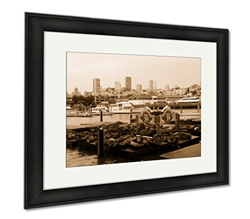 Ashley Framed Prints San Francisco Pier 39 View Of Buildings And Sea Lions USA, Wall Art Home Decoration, Sepia, 26x30 (frame size), Black Frame, - Francisco Pier Shops 39 San
