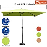 Sundale Outdoor 6.5 x 10 Ft Sunbrella Canopy Rectangular Umbrella Patio Garden Outdoor Aluminum Market Umbrella with Crank and Push Button Tilt, Macaw Review