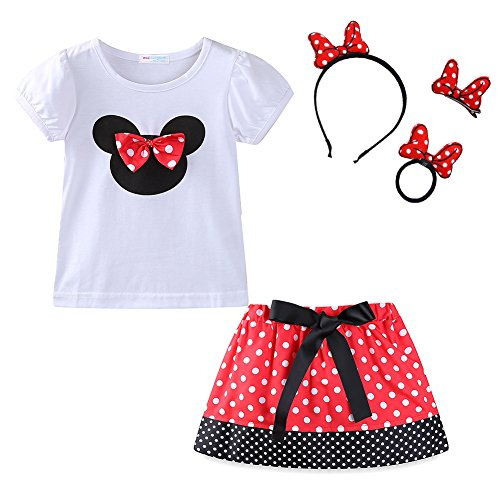 Mud Kingdom Toddler Girl Cute Skirt Outfits with Headbands Sets Red -