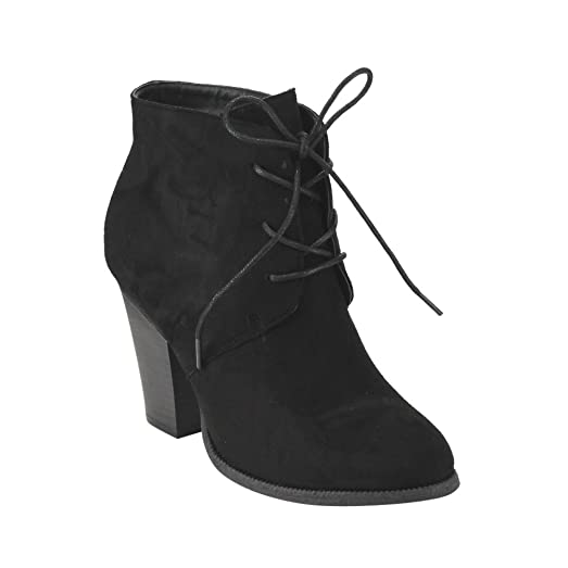 GE36 Women's Lace-Up Stacked Chunky Heel Ankle Booties