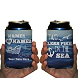 Custom Nautical Wedding Can Cooler- Two Less Fish In The Sea (250)