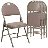 Flash Furniture 4 Pk. HERCULES Series Ultra-Premium Triple Braced Beige Fabric Metal Folding Chair with Easy-Carry Handle