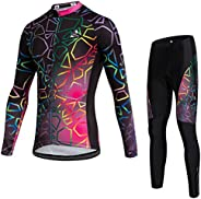 Uriah Women's Thermal Fleece Cycling Jersey Long Sleeve and 3D Gel Padded Pants