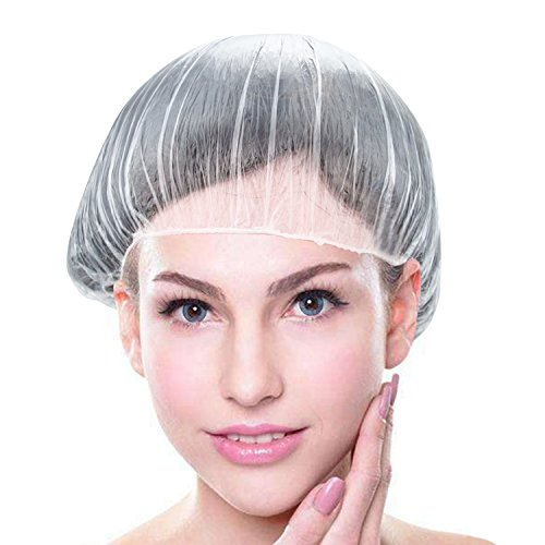 Price comparison product image Shower Cap Bamyko Disposable Plastic Shower Caps 100 Pack for Bath, Perms, Coloring and Hair Salon - Clear