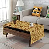 Large African Drum Coffee Table iPrint Linen Blend Tablecloth,Side Pocket Design,Rectangular Coffee Table Pad,Tribal,African Art with Ethnic Quirky Forms Abstract Cultural Icons Primitive Design,Sand Brown Ginger,for Home Decor