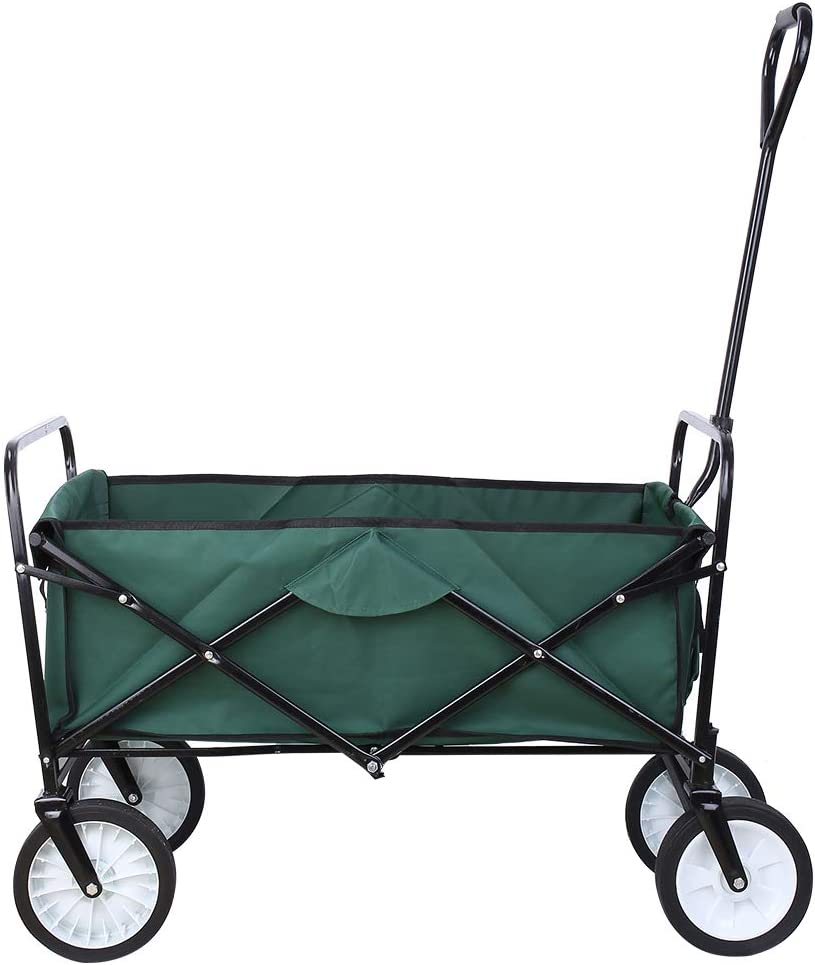 """Collapsible Outdoor Utility Wagon, Heavy Duty Folding Garden Portable Hand Cart, with 8"""" Rubber Wheels and Drink Holder, Suit for Shopping and Park Picnic, Beach Trip and Camping (Green)"""
