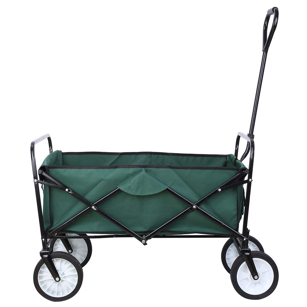 Collapsible Outdoor Utility Wagon, Heavy Duty Folding Garden Portable Hand Cart, with 8'' Rubber Wheels and Drink Holder, Suit for Shopping and Park Picnic, Beach Trip and Camping (Green) by HEMBOR