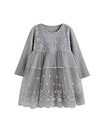 Jarsh Toddler Baby Girls Princess Dress Knitting Lace Flower Tutu Dresses Set
