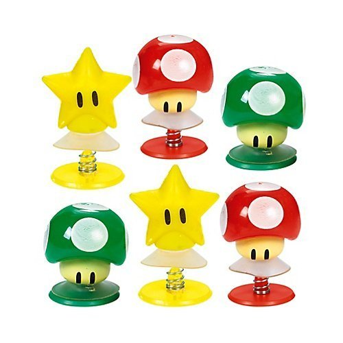 "(Amscan Super Mario Brothers Birthday Party Mushrooms & Star Pop-Up Toy Favors, Multicolor, 1 1/4"" (Value Pack: 12 Count))"
