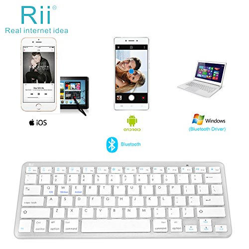 Rii BT09 Ultra Slim Portable Wireless Bluetooth Keyboard For Windows Devices ipad Mini iphone MacBook Pro Tablets PC Android Tablets Samsung Smart TV Box(White) (Samsung Smart Tv Touch Screen)