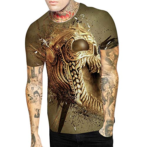 MmNote mens clothes clearance sale, Gold Skull Pattern Punk Style Modern Fit Casual Loose Short Sleeve T-Shirt ()
