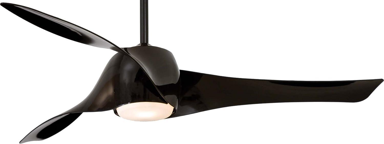 minka-aire f803-parent、Artemis天井ファンwithライト&壁コントロール ブラック F803L-BK B071R4QPBQ Black (LED Light) Black (LED Light)