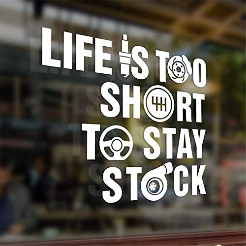 (Motivational Wall Sticker Quotes 18.620Cm Life is Too Short to Stay Stock Sticker Funny Decals Bumper Car Auto )