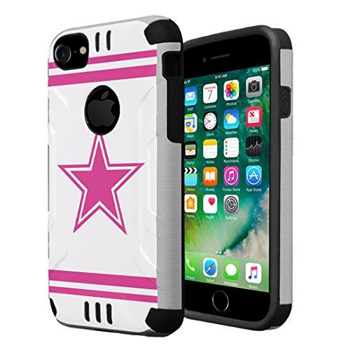 iPhone 7 Case, iPhone 6s Case, iPhone 6 Case, Capsule-Case Hybrid Dual Layer Slim Defender Armor Combat Case (Silver & Black) for iPhone 7 / iPhone 6S / iPhone 6 - (Pink Cowboy)