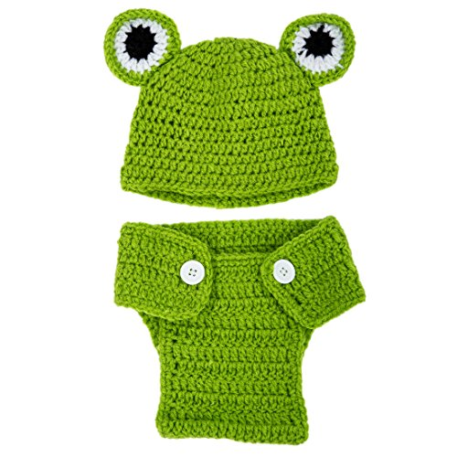 TOOGOO(R) Kids Handmade newborn Baby infant boy prince Girl Costume Animal Beanie photography Props Set Crochet Cloth knitted caps & hats-Frog ()