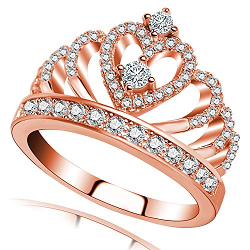 Ailianer Princess Queen Crown Rings for Women Girl Heart-Shaped Ring Jewelry Silver Plated Zircon Rose Gold Ring 9 ()