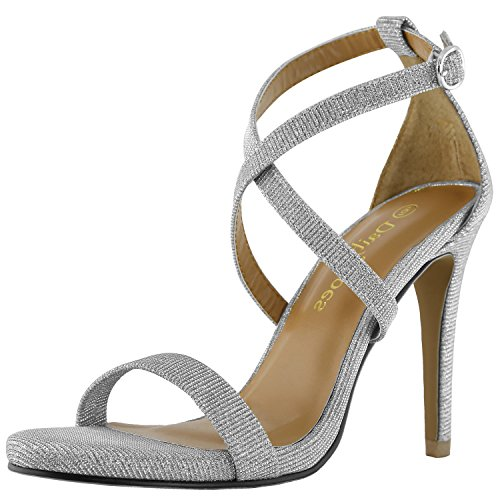 DailyShoes Women's Platform High Heel Comfortable Sandal Open Toe Ankle Adjustable Buckle Cross Strap Pump Evening Dress Casual Party Shoes, Silver Gl, 8 B(M) US (Sandals Heel Silver High)