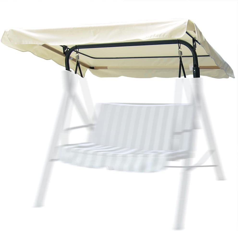 """Yescom 72 13/16"""" L x 53 9/16"""" W Outdoor Swing Canopy Replacement UV30+ 180gsm Top Cover for Park Seat Patio Yard Ivory"""