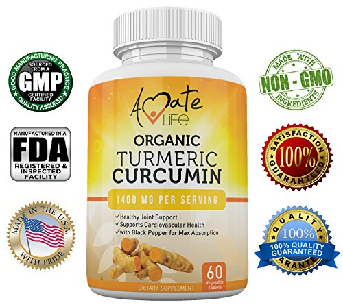 Organic Turmeric Curcumin Supplement-All-Natural Organic Turmeric Curcumin Capsules-Vegan Natural GMP Certified-Joint Pain Support Cardiovascular Protection- Max Absorption 60 Capsules Diet Supplement