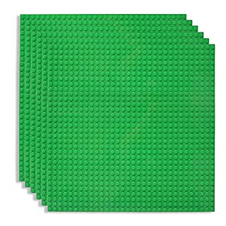 "Lekebaby Classic Baseplates Building Base for Building Bricks 100% Compatible with Major Brands-Baseplate 10"" x 10"", Pack of 6, Green"