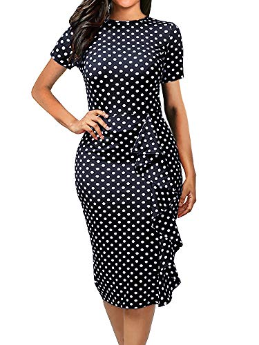 oxiuly Women's Casual Polka Dot Short Sleeve Round Neck Work Business Pencil Dress OX055 (XL, Navy Blue)