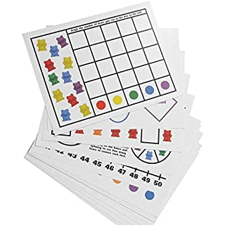 """Legato Counting Bear Activity Sheets and eBook; 20 Large, Glossy Card Stock Sheets (each 8.5"""" x 11""""); Helps with Patterns, Graphing, Colors, and More! Use with any 1"""" bear manipulative with 6 colors."""