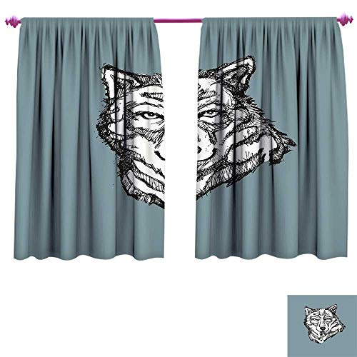 (Modern Room Darkening Wide Curtains Wild Timber Wolf Face Portrait Sketch Animal Canine Creature Graphic Art Waterproof Window Curtain W63 x L72 Black White Slate Blue)