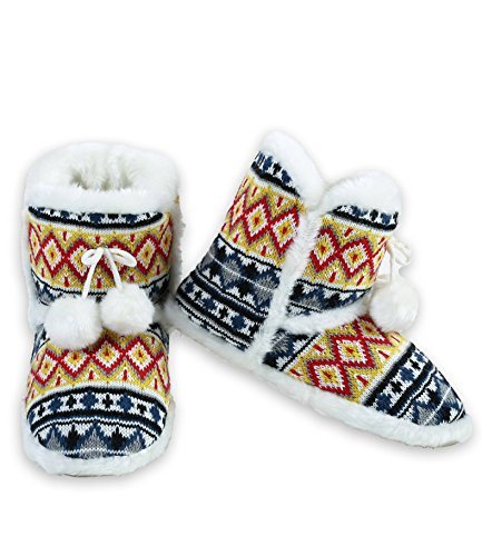 Bootie Knit Slipper Sweater ICONOFLASH Fair Yellow Isle Women's PFBX7T1