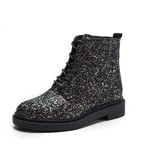 Creazrise Women's Sequin Shiny Lace up Round Toe Boots Casual Martin (Heel Ankle Wrap Mini Platform)