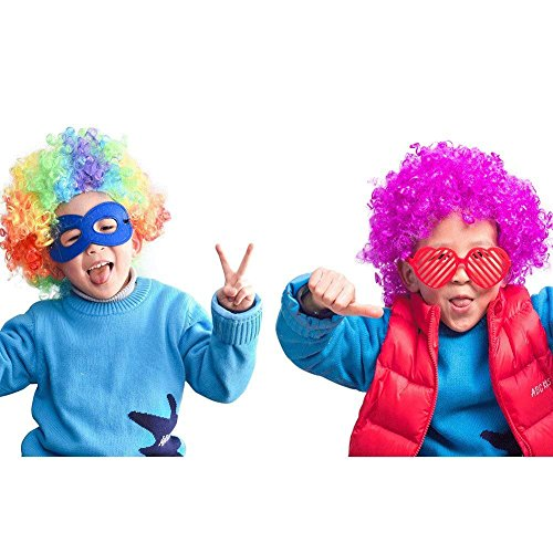 2Pcs Cosplay Kids Adult Clown Wigs Rainbow Curly Costume Wigs for Halloween Dress Up Party